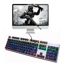 Factory Directly OEM Real Mechanical Keyboard With Full Keys 104 Blue Switch 9 LED RGB Blacklight Keyboard For Gaming for MAC