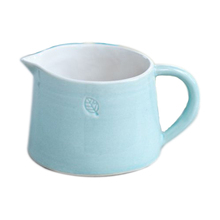Simple soft blue unique debossed ceramic milk pitcher
