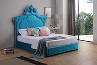 Fabric Bed with fun shape Headboards