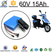 Electric bike electric scooter 60v 15ah rechargeable lithium ion battery price with PVC 18650 cells 15amp Bms board & Charger