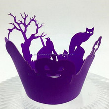 laser cutting birds and trees halloween crafts personalized floral cupcake wrappers for party decoration