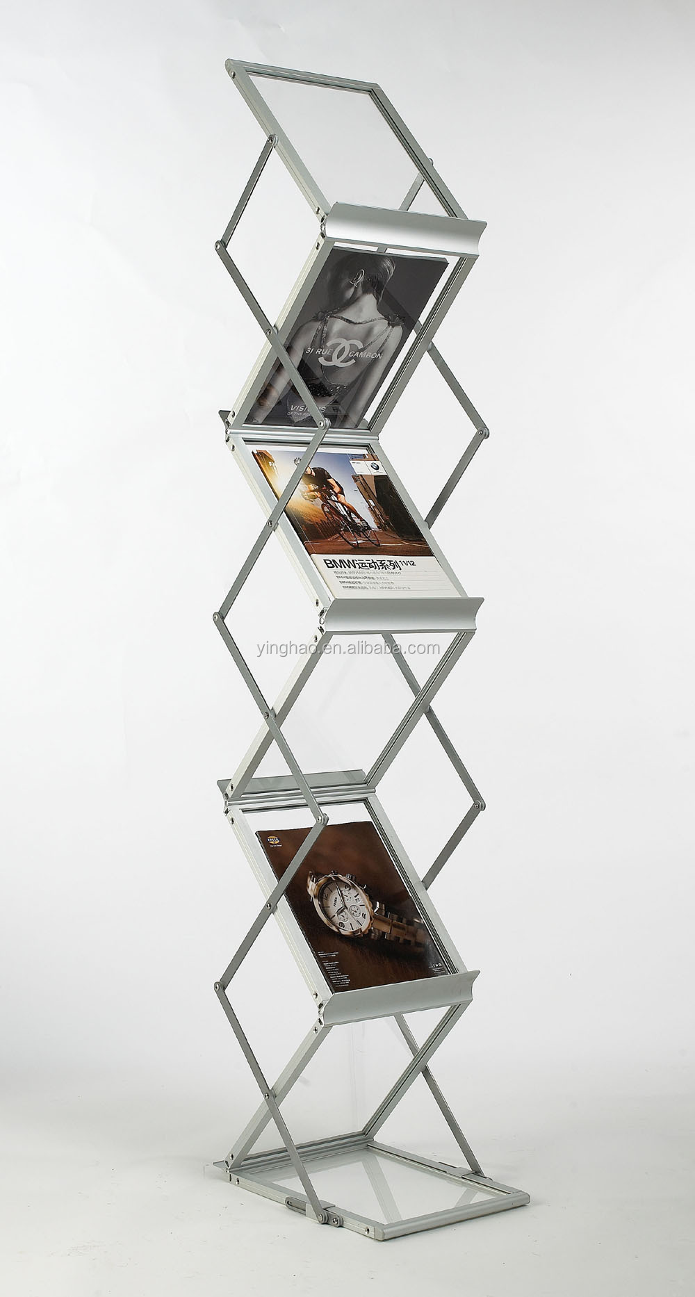 6 tier aluminum glass display stand