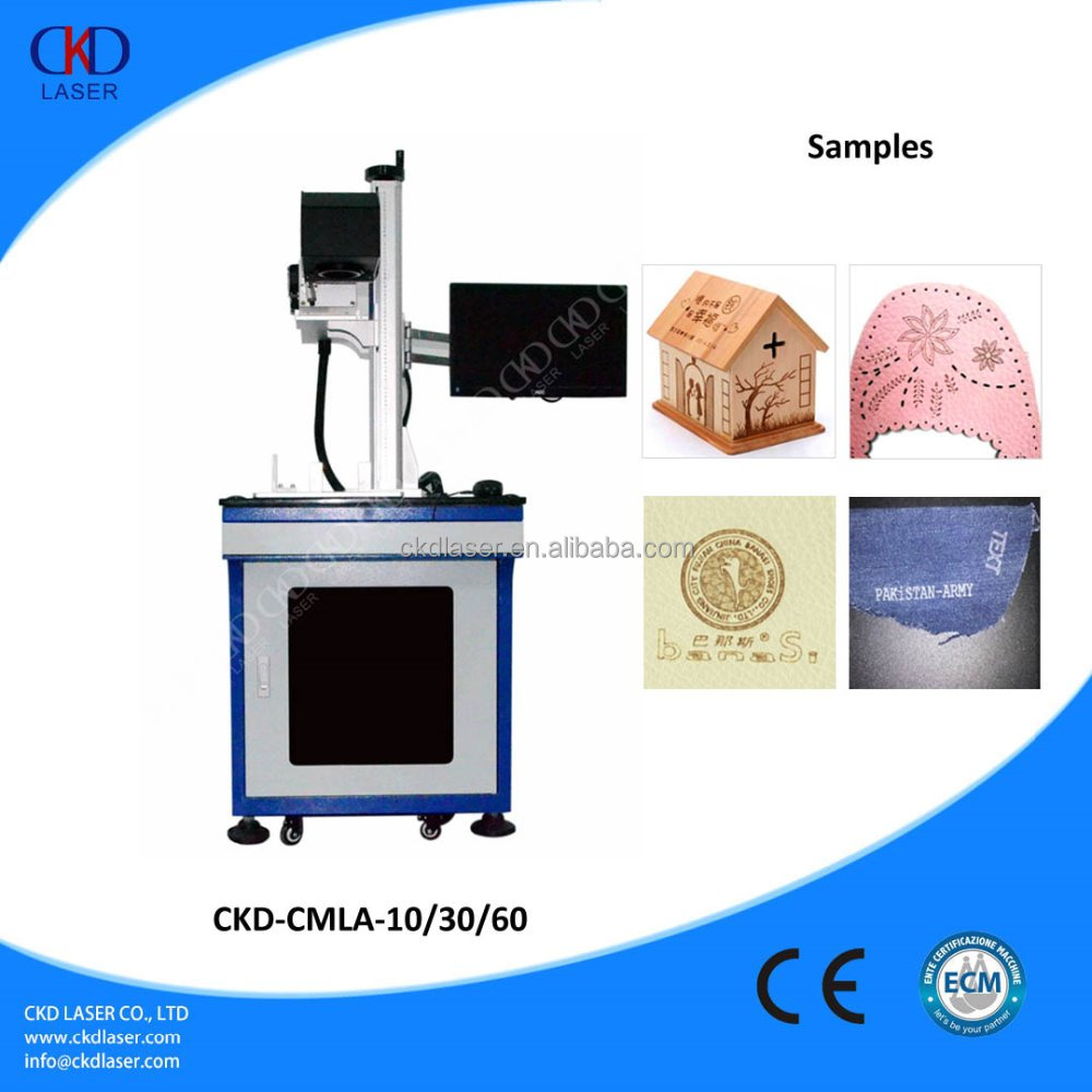 CO2 Leather Jeans Fiber Laser Marking Machine For Wood