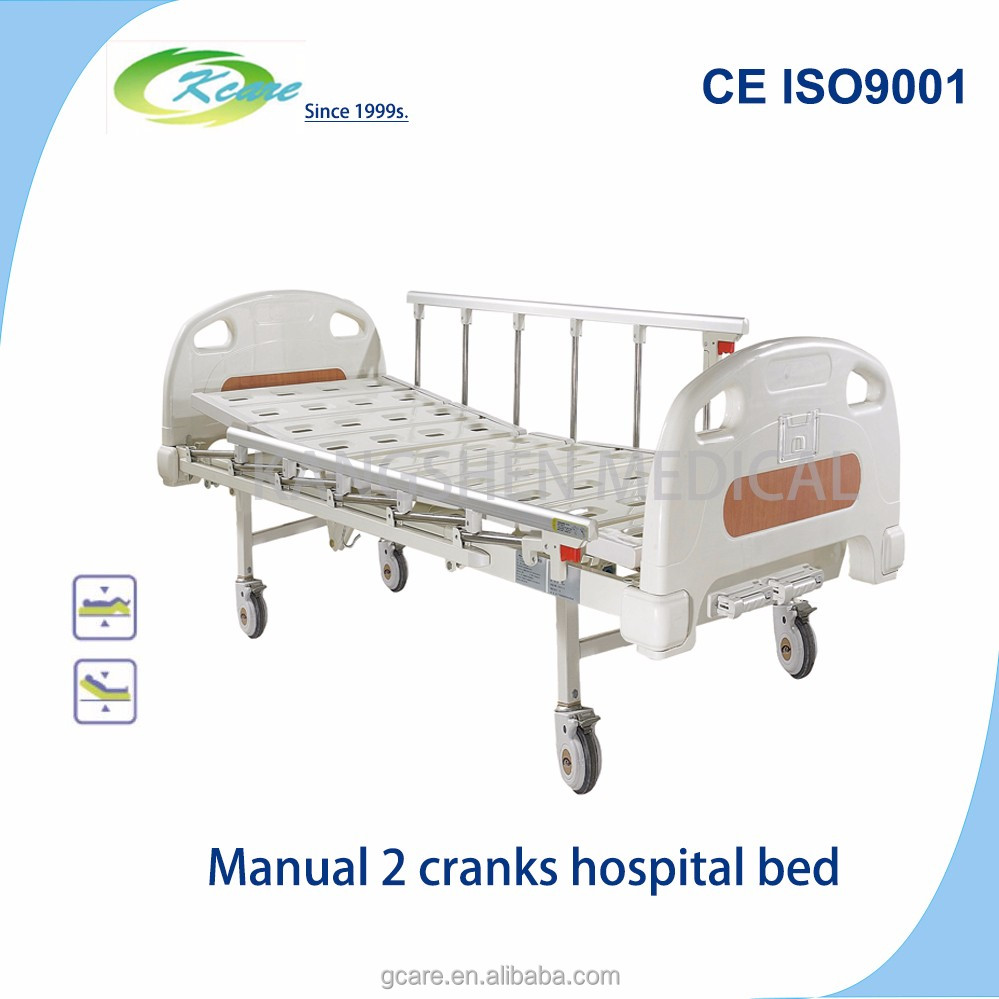 medical furnitures movable two cranks manual hospital bed