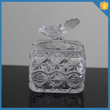Multipurpose Antique butterfly Glass Candy Jar with Lids / Decorative Nut Bowl