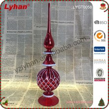 red glass tree with mould ball filled in white glitter for Christmas home decoration