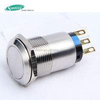 19mm diameter 1NO 1NC illuminated pushbutton led momentary pushbutton switch with waterproof cover