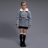 Elegant Design Wool Melton Coat With Round Fur Collar Warm Winter Coat For Baby Girl