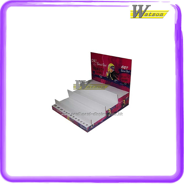 simple design counter top showing corrugated display case for perfume