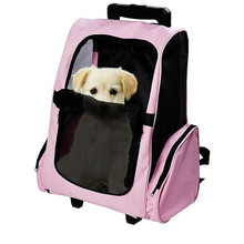 Pet Carrier Dog Backpack wholesale pet carrier For Medium Pets Animals Strollers Carts Luggage Box With Wheels Pink