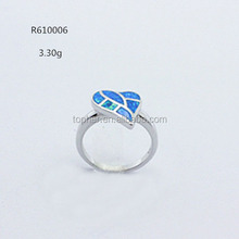 wholesale 925 sterling silver leaf blue fire opal ring