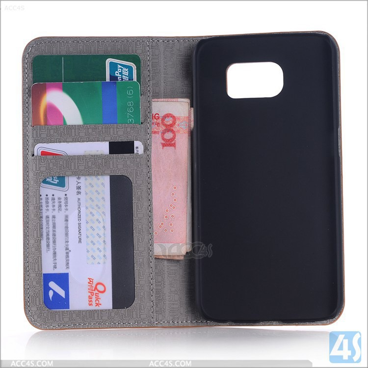 Luxury wallet style Cross stitch &soft leather pattern cell phone case for Samsung galaxy s6 edge with ID card horder