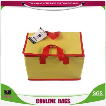 Latest arrival super quality yellow insulated cooler bag with red handle