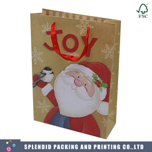 Luxury custom brown kraft paper shopping Christmas gift bag