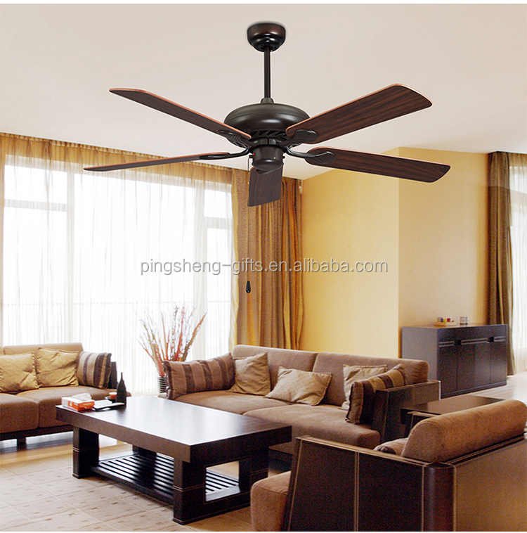 Wood hand craft blade ceiling fan lamps for home