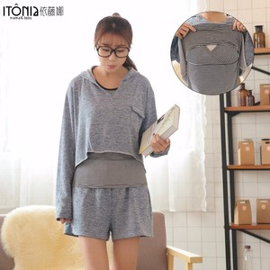 New arrival grey long sleeve cotton blouse for pregnant women