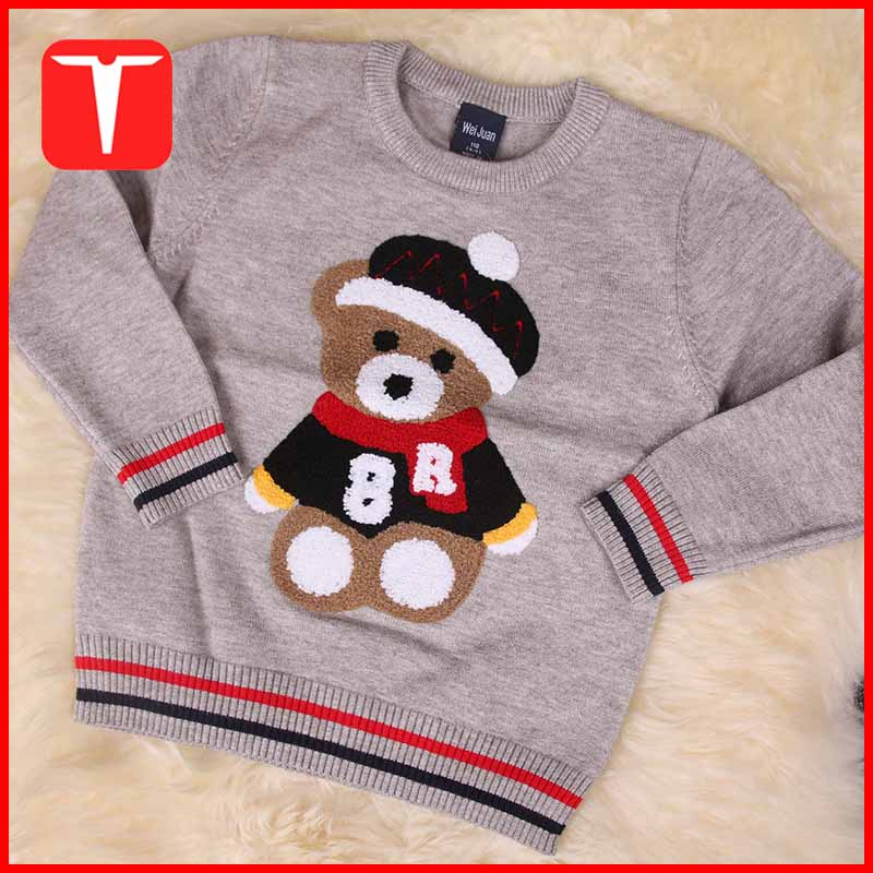 Boys embroidery style pullover knitting patterns children cartoon sweater