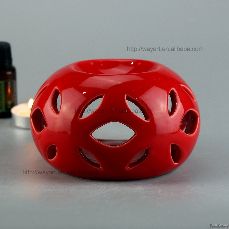 BSCI SEDEX Audit Elegant Red Ceramic Oil Burner For Gift