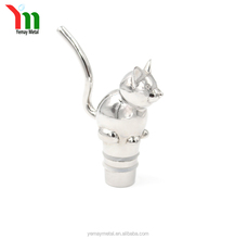 high quality 316L stainless steel cute cat kawaii animal wine bottle stopper