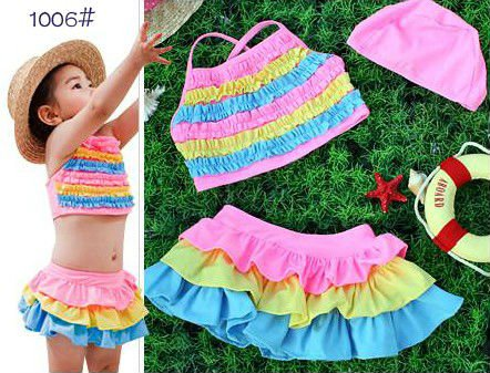 HOT SELL Rainbow Color Baby Swimwear Swimsuits Girls Swimming Wear Bathe Wear