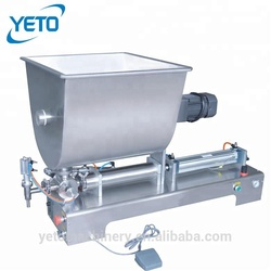 Single head semi automatic jam chilli sauce filling machine,tomato paste filler with mixer hopper