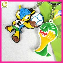 Soft PVC Keychain Brazil World Cup 2014 Souvenir National Football Team Eco-friendly Silicone Custom Made Rubber Keychains