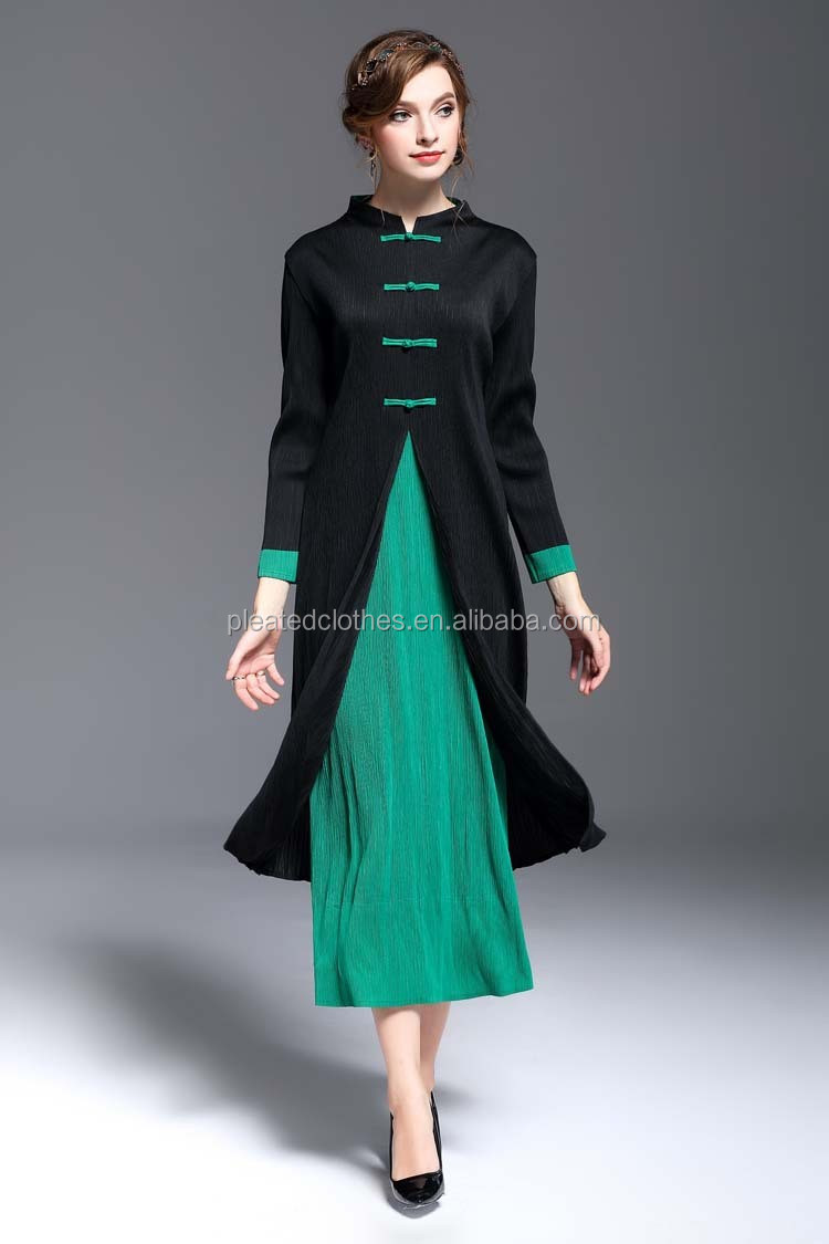 Elegant pleated dinner jacket pleated dress casual clothes for women pictures