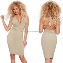 monroo Western ladies halter neck deep v neck dress hot sexy ladies backless club dress