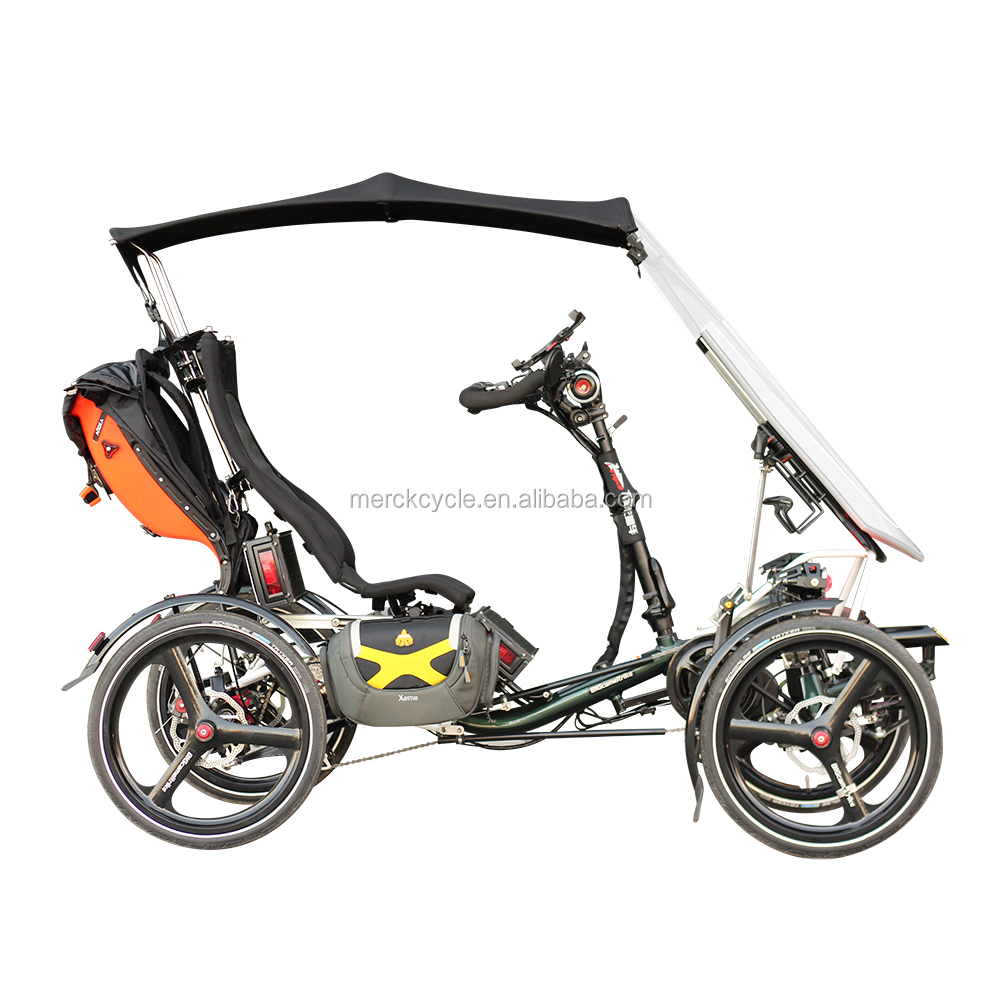Comfortable High Seat Safe Wind Shield 4 Wheel <strong>City</strong> Crossing Electric Recumbent Quad, Easy Handle Recumbent Quadricycle