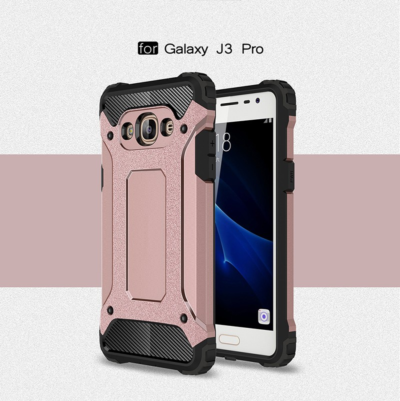 hard soft silicone rubber shockproof impact armor hybrid case cover for samsung galaxy J3 pro