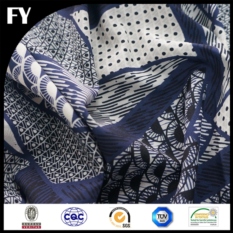 2016 Fashion Design Latest Custom Digital Print 100% Polyester Crepe De Chine CDC Dress Fabric