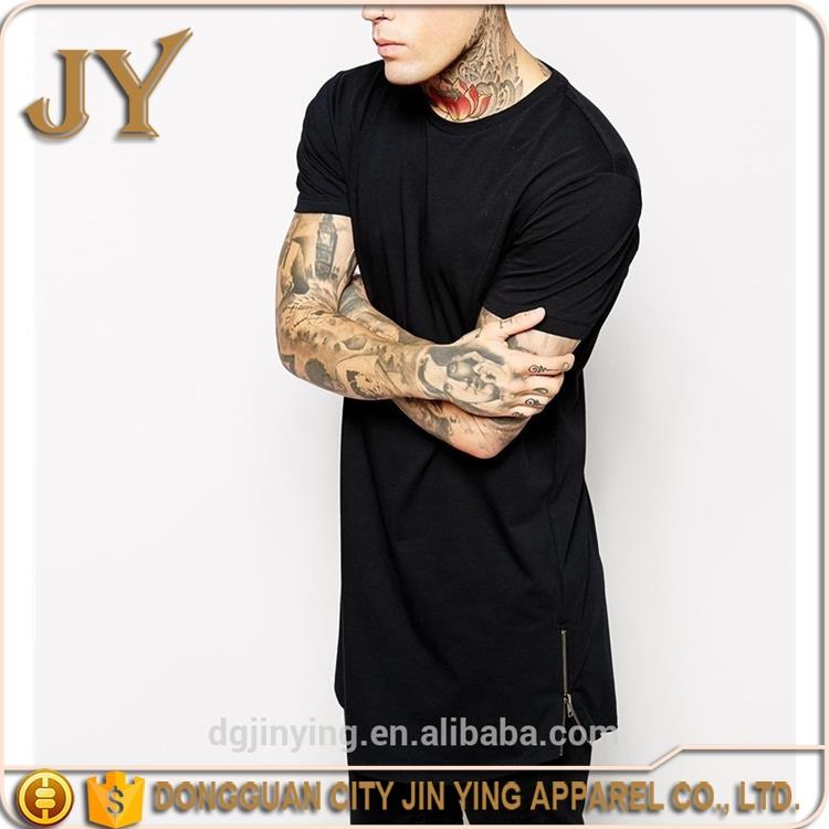 hip hop clothing men tops long blank t shirt design short sleeve crew neck casual double zipper tee long streetwear t-shirt