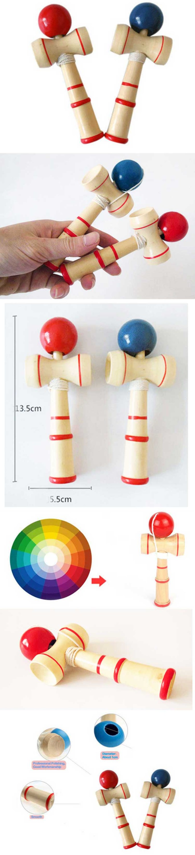 Wholesale 2016 Painted Wooden Kendama Ball Funny Wooden Toys kids toys