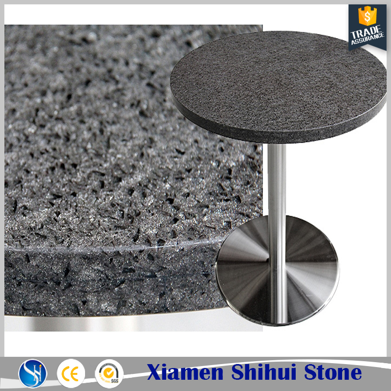 good product grey quartz stone round top dining table for restaurant