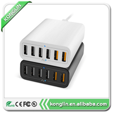 Intelligent QC2.0 USB wall charger, 12A 6 port multi port usb quick charger universal CE