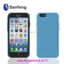 Safety rubber mobile cover for Iphone 6 credit card slots case made in China