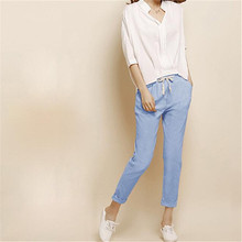 Elastic Waist Loose Cotton Linen Solid Harem Pants Pockets Candy Color All-match Nine Trousers For Women