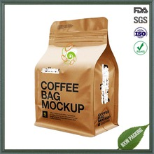 Custom Printing Block Flat Square Bottom Side Gusset Quad Seal Coffee Valve Bag with Brown Kraft Paper Plastic Packing Pouch