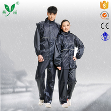 Windproof cuffs Work rainsuit Hidden hat with drawstring Waterproof rain suitTwo patch pockets with flap in front