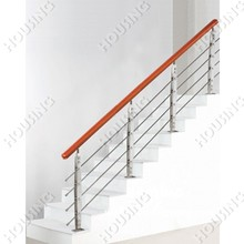 wood handrail stainless steel rod railing for staircase design