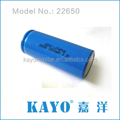 KAYO maxtar cylindrical LiFePO4 26650 2800mh Battery Rechargeable 3.2V Li-ion polymer battery