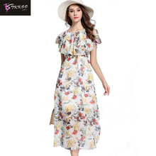 Wholesale Price MOQ 1 Piece Europe and America Women Fashion Tie Neck Cape Short Sleeve Floral Print <strong>Dress</strong> Long Chiffon <strong>Dress</strong>