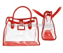 Newest cheap lady fashion handbag,waterproof clear PVC beach bag