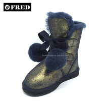 childrens genuine leather sheepskin lined boots