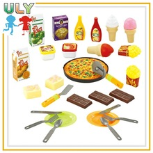 Plastic fast food pizza play set toy for kid