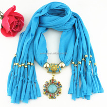 Hot sale Lady Jeweled Pendant cheap price polyester scarf with 22 colors