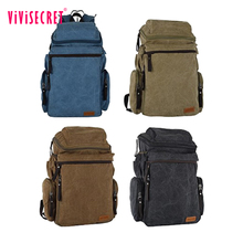 New fashion men's vintage bagpack canvas hiking backpack blank adult school book bag