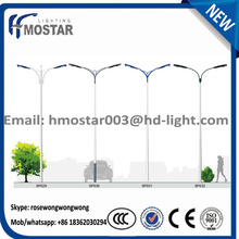 Symmetric Dual-arm street light pole with Galvanization and Powder Coated lamp pole