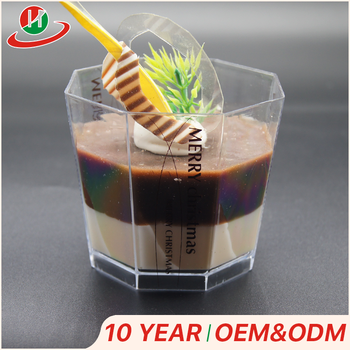 Hot sale fashion food grade custom logo ,,Plastic Dessert Cups with lids Ice Cream Cups with spoons