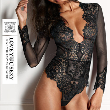 Factory price sexy custom design ladies sexy lingerie underwear long sleeve lace tight bodysuit